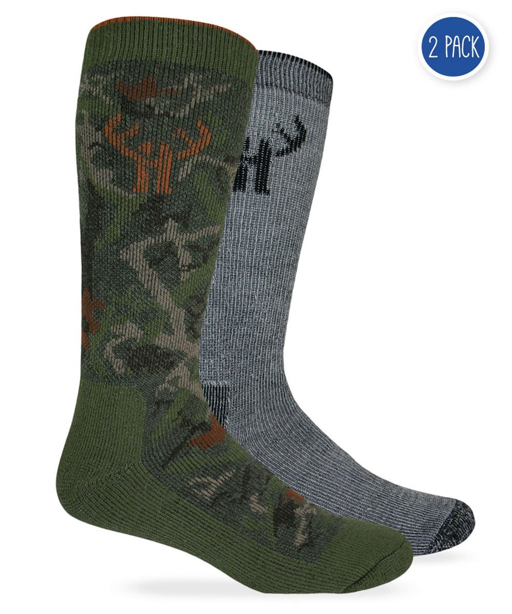 2 Pack Huntworth Men's Wool Blend Camo Combo Boot Sock, Camo Green/black, Large Carolina Hoisery 2832