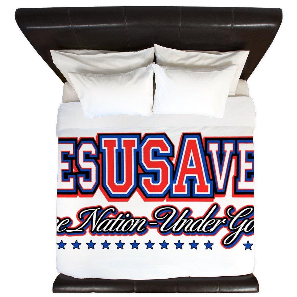 King Duvet Cover USA Jesus Saves Nation Under God by Royal Lion