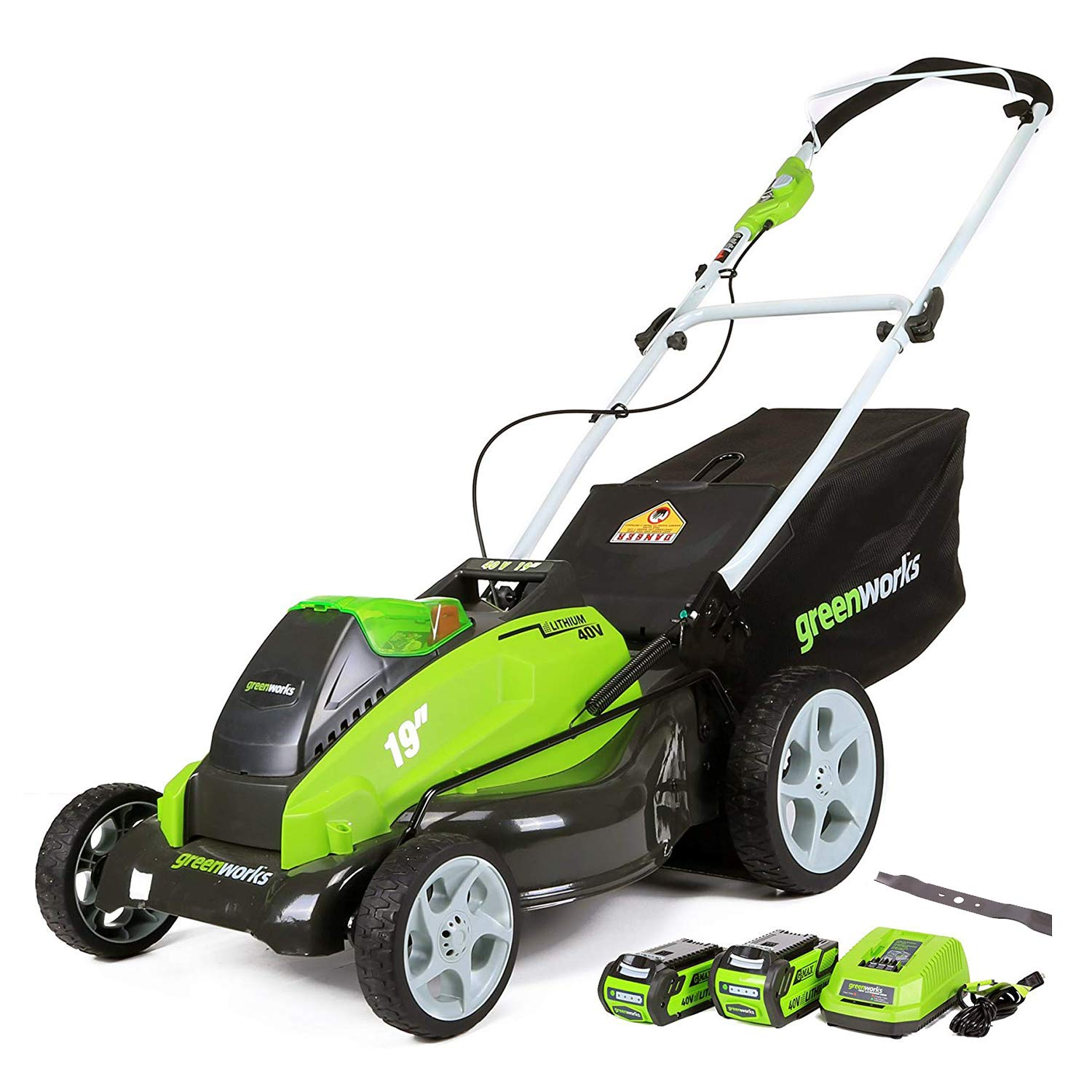 GreenWorks 19-Inch 40V Cordless Lawn Mower + Extra Blade, (1) 4Ah (1) 2Ah Batteries and Charger Included 2519202AZ by Greenworks