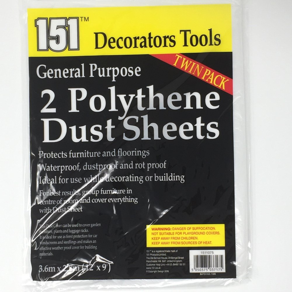 pack of 8 polythene dust sheets for decorating or building protects furniture and flooring amazoncouk diy u0026 tools