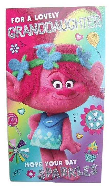 Tarjeta de cumpleaños para nieta Trolls: Amazon.es: Oficina ...