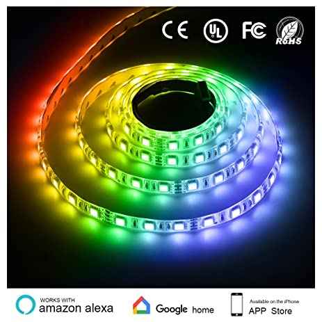 Amazon texsens led rgb light strip compatible with alexa texsens led rgb light strip compatible with alexa android ios system 5050 aloadofball Image collections