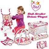 Liberty Imports 5-in-1 Deluxe Newborn Baby Doll Stroller Nursery Playset with Play