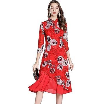 JUWOJIA Nuevas Mujeres Primavera Verano Vestido Rojo Impreso Retro Estilo Chino Cheongsam Mejorada Pista Vintage De