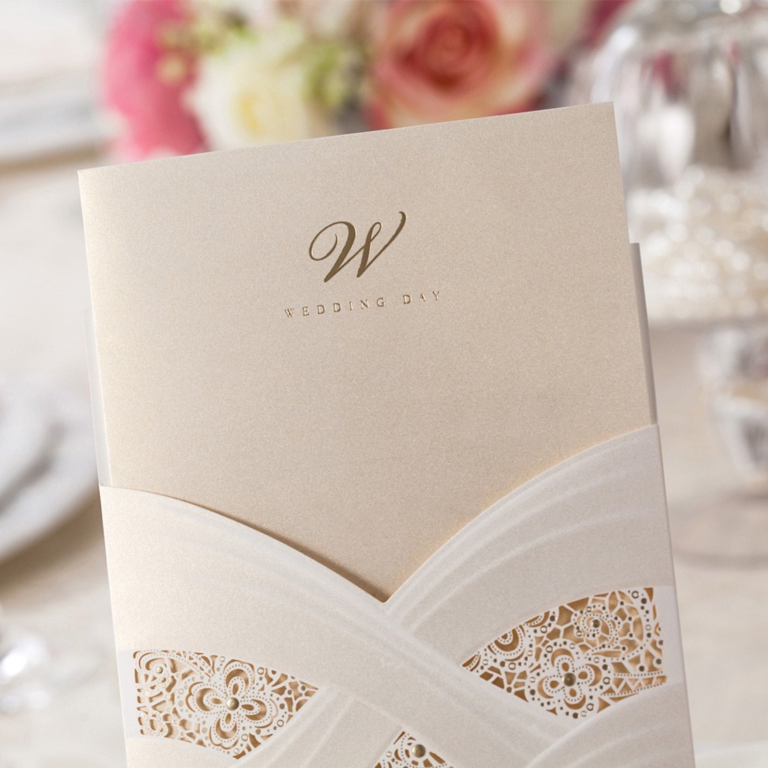 WISHMADE 「ECHOES OF LOVE」 White Laser Cut Wedding Invitations 50pieces Co Ltd. Floral Design Vertical Invites Printable Holder for Bridal Shower Engagement Paraboda WISHMADE Shanghai