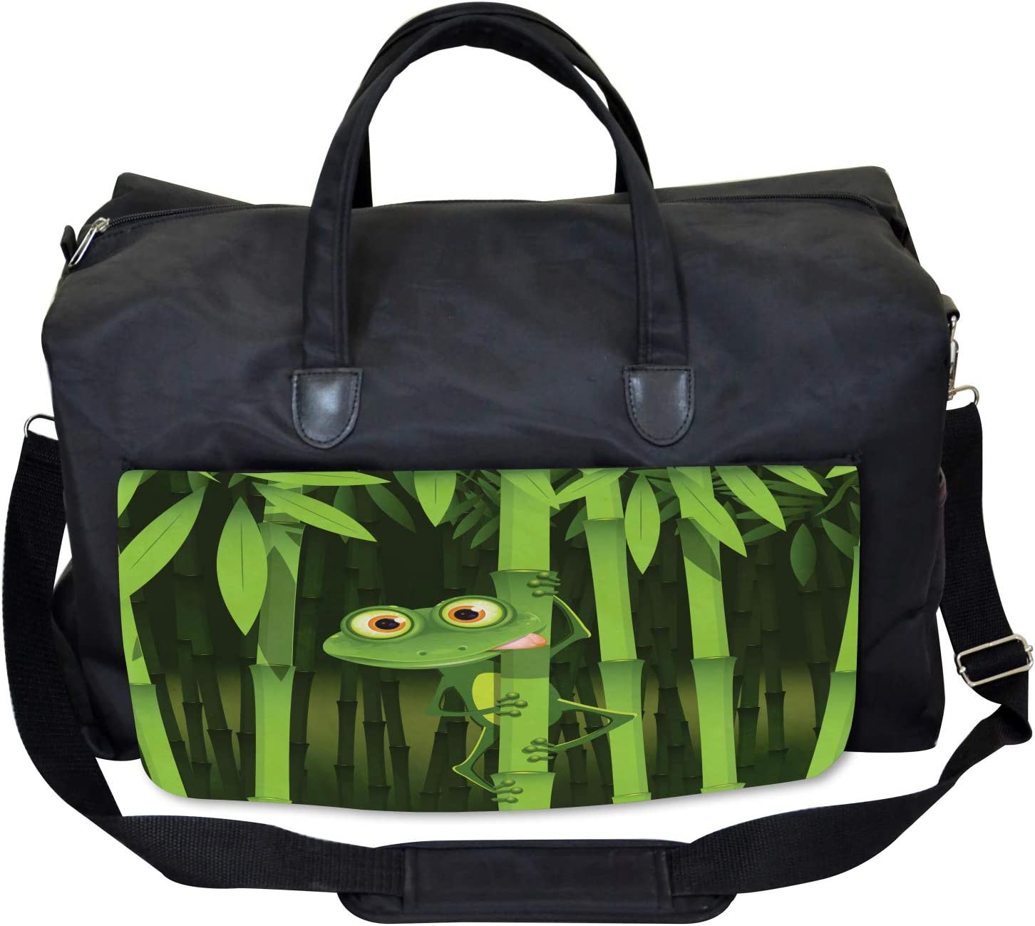 Ambesonne Bamboo Gym Bag Large Weekender Carry-on Jungle Trees Fun Frog