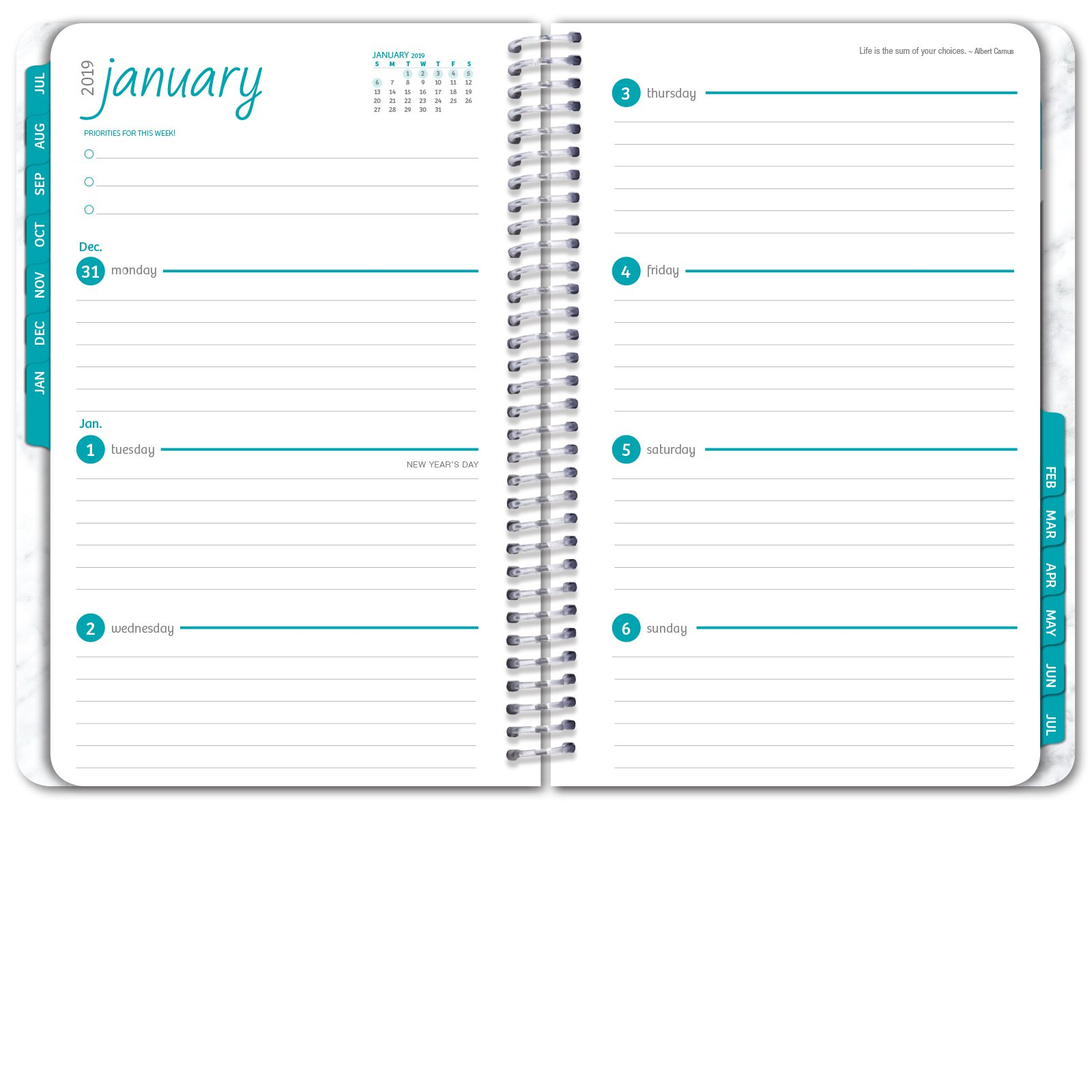 HARDCOVER Academic Year Planner 2018-2019 - 5.5''x8'' Daily Planner/Weekly Planner/Monthly Planner/Yearly Agenda. Bonus Bookmark (Grey Marble) by Global Printed Products (Image #5)