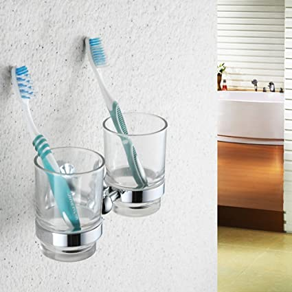 El Cepillo de dientes Copa Kit completo cobre doble portavasos cepillo de dientes Vaso soporte de