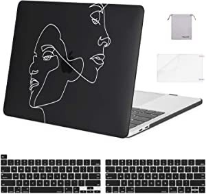 MOSISO Compatible with MacBook Pro 13 inch Case 2020 2019 2018 2017 2016 Release A2289 A2251 A2159 A1989 A1706 A1708, Plastic Face Sketch Hard Shell&Keyboard Cover&Screen Protector&Storage Bag, Black