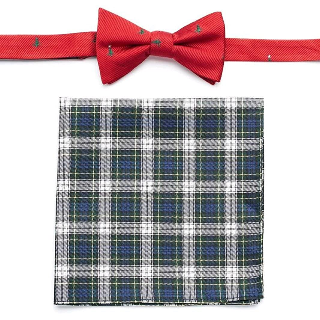 Izod Christmas Tree Tartan Pre-Tied Bow Tie and Pocket Square Set