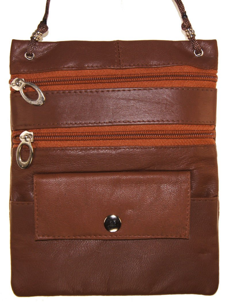 Light Brown Genuine Leather Passport Id Documents Holder Neck Travel Pouch Bag by Wallet (Image #1)