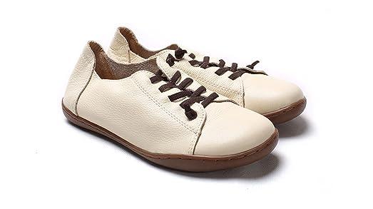 Dahanyi Stylish Women Shoes Flat Authentic Leather Plain toe Lace up Ladies Shoes Flats Woman Moccasins