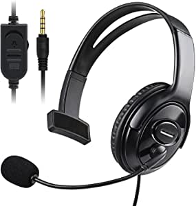PS4 Unilateral Headset, Joso 3.5mm Wired Gaming Office Business Chat One Ear Headphone with Microphone & Audio Controls for PS4, PS4 Pro, PS4 Slim, Nintendo Switch, Smartphone, Laptop, Tablet