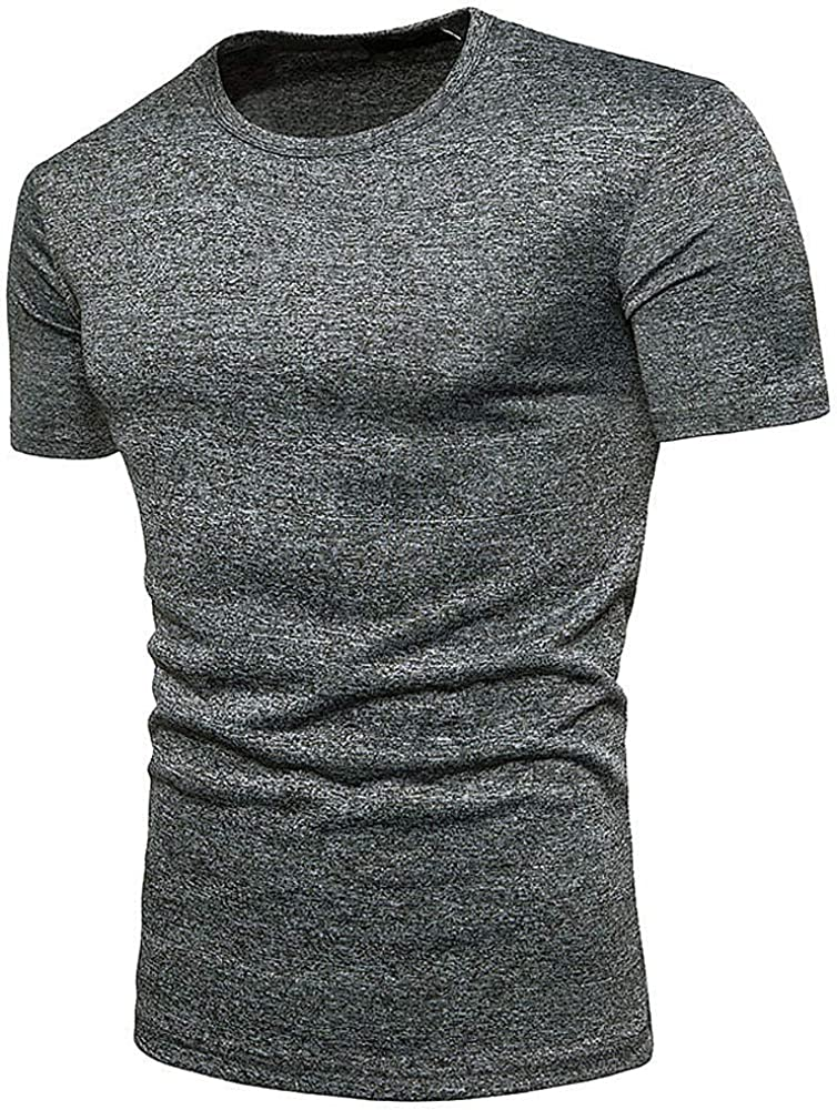 HELLOSAY Mens Summer Casual Solid Round Neck Pullover T-Shirt