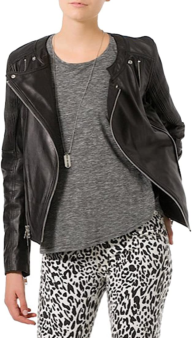 Kingdom Leather New Women Motorcycle Lambskin Leather Jacket Coat Size XS S M L XL XW102