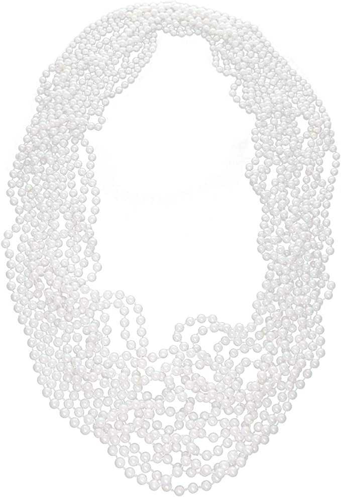 Simprefine 8 PCS 48 Faux White Pearl Necklaces Choker Bulk Beaded Necklace Flapper Costume Chain for Gatsby Party Favors Bridal Shower Wedding Event Decoration Accessory Jewelry for Kids Tea Party Birthday Party Decorations