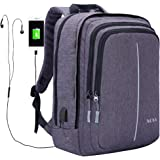 XQXA Laptop Backpack,Business Bags with USB Charging Port,Anti-Theft Water Resistant Bookbags for Students College Travel Backpack for 15.6-17.3 Inch Laptop Notebook,Oxford Backpack for HP Asus