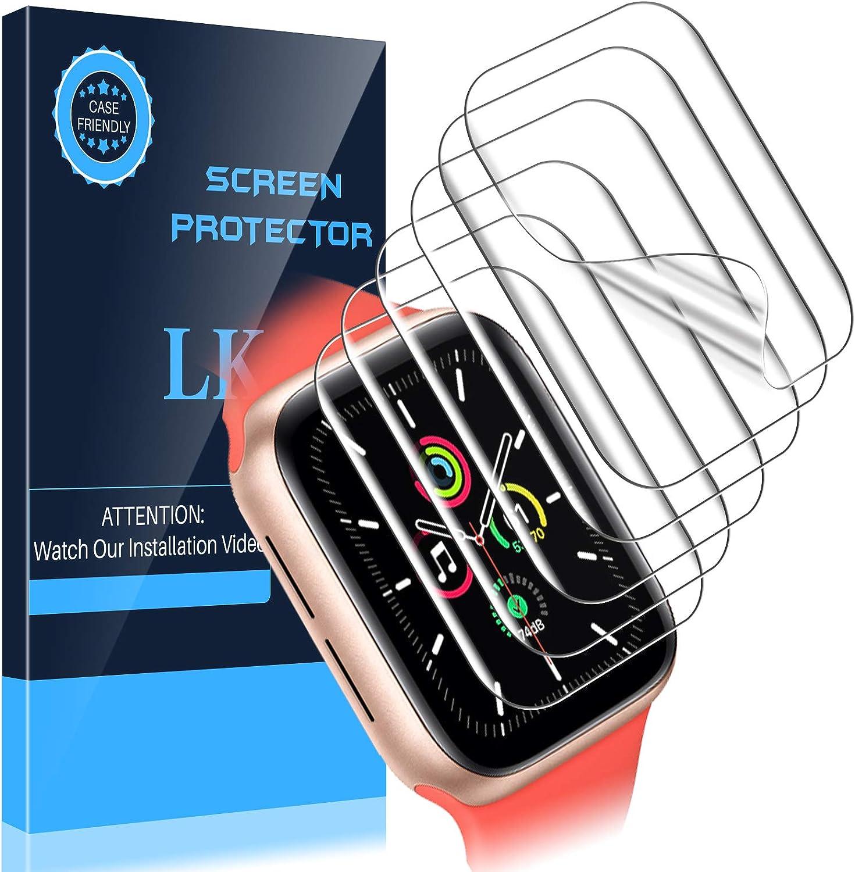 LK Protector de Pantalla para Apple Watch SE 44mm Protector Pantalla, [6 Pack] [Película Protectora de TPU] [HD Clear][Sin Burbujas][Reducir Huella Digital]