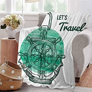 CRANELIN Printing Artwork Blanket Lets Travel with Aquatic Icons Navy Rope Helm Water Vessel Oceanic Art Turquoise Black White Bed Sleeping Travel Pets Reading W57 xL74