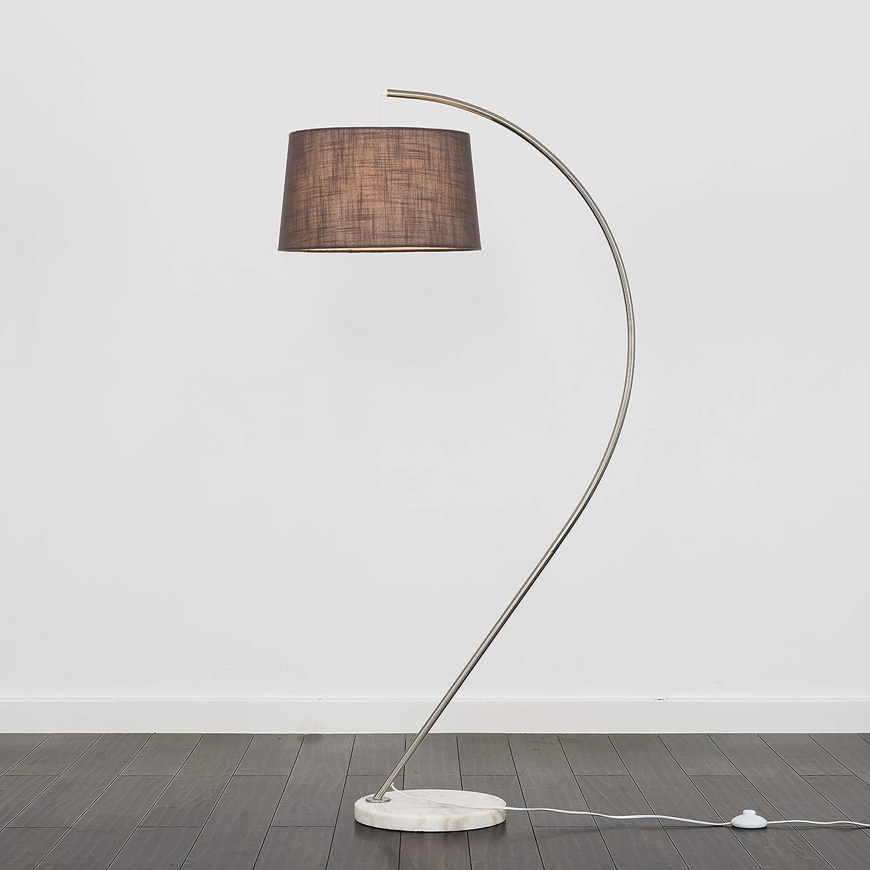 Modern Designer Style Brushed Chrome Curved Floor Lamp Base