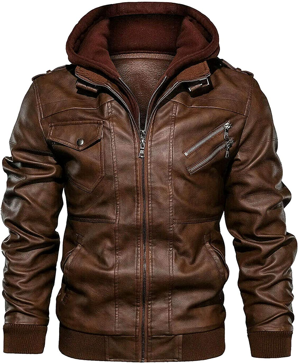 Spazeup Men Brown Leather Motorcycle Jacket with Removable Hood-Mens Bomber Jacket-Chaquetas De Hombre