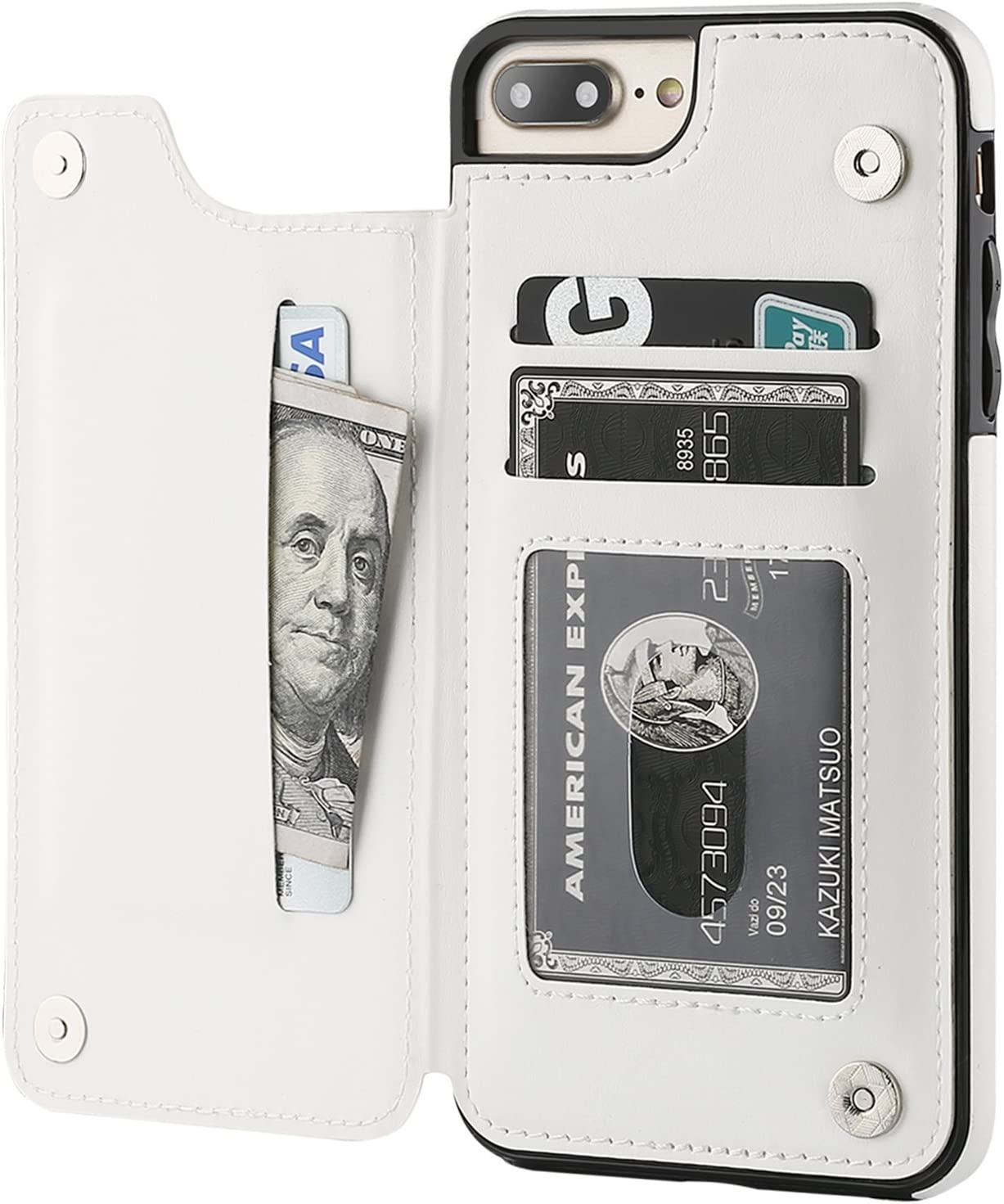 iPhone 7 Plus iPhone 8 Plus Wallet Case with Card Holder,OT ONETOP Premium PU Leather Kickstand Card Slots Case,Double Magnetic Clasp and Durable Shockproof Cover 5.5 Inch(White)