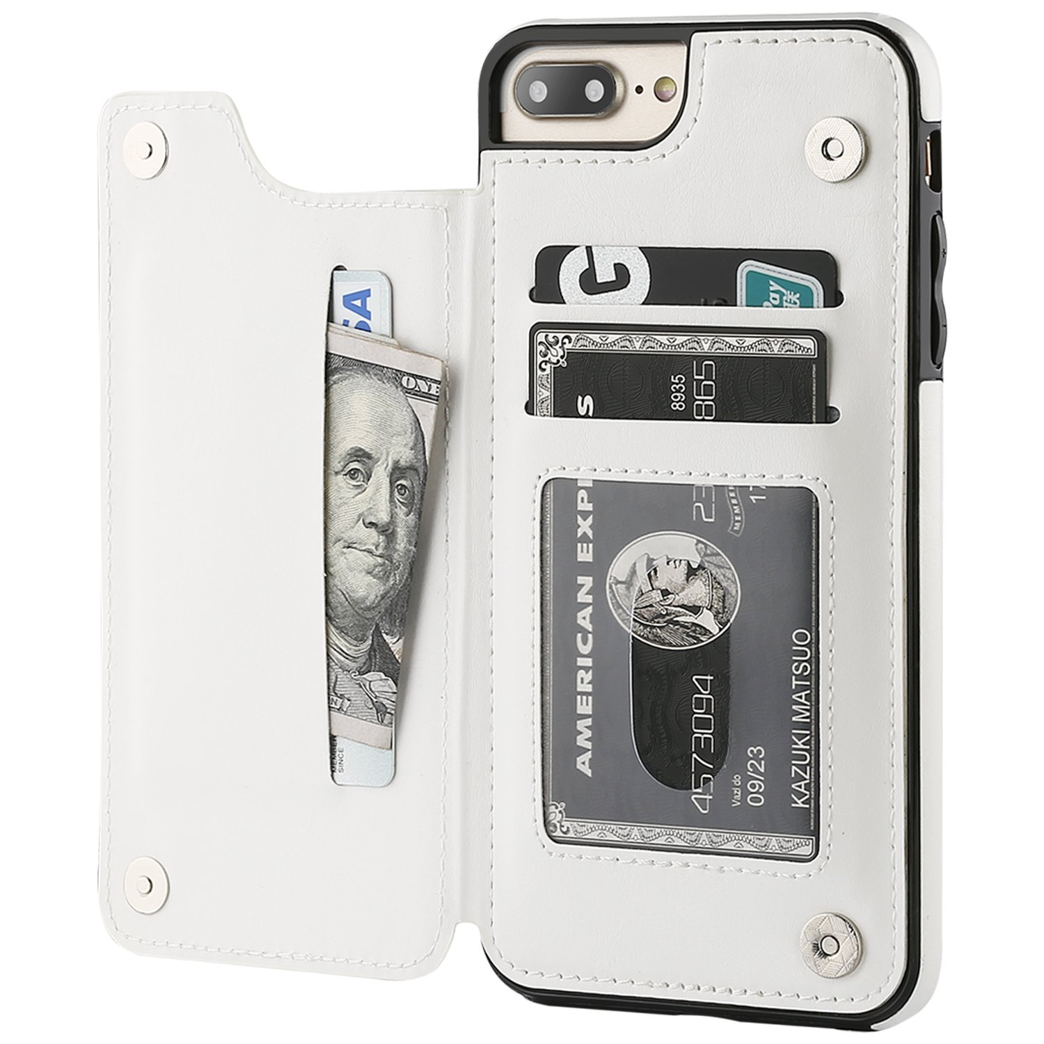 Black iPhone 11 Pro Max Wallet Case with Card Holder,OT ONETOP PU Leather Kickstand Card Slots Case,Double Magnetic Clasp and Durable Shockproof Cover for iPhone 11 Pro Max 6.5 Inch