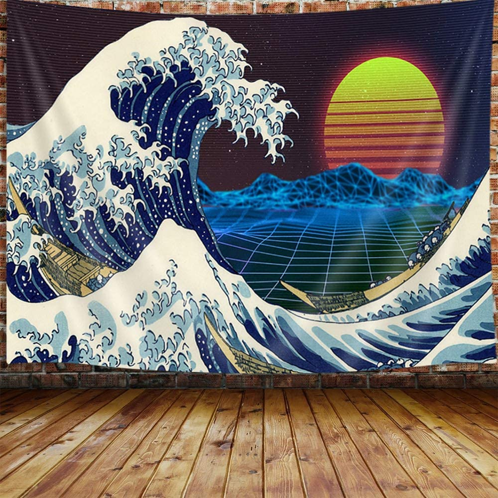 Vintage Japanese Decor Tapestry, the Great Wave Off Kanagawa with Red Sun Tapestry Wall Hanging for Bedroom, Neon Anime Vaporwave Tapestry Beach Blanket College Dorm Home Decor (71
