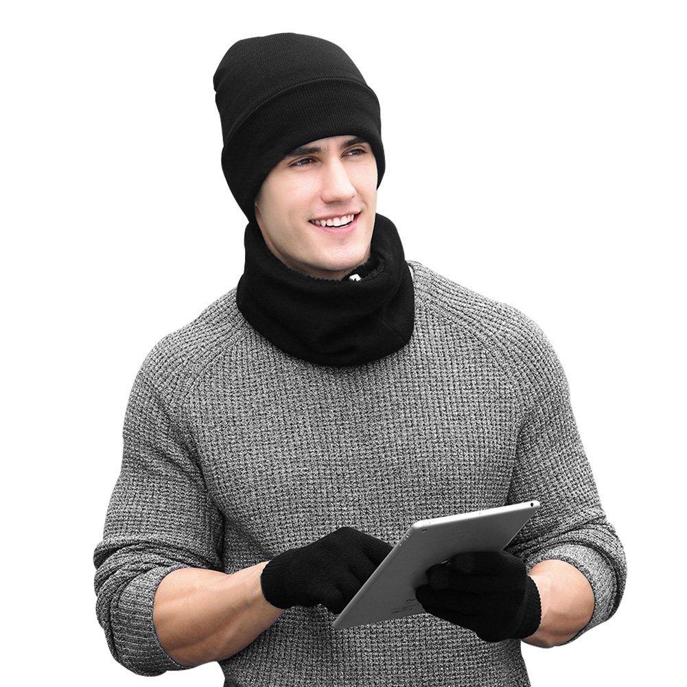 Vbiger Wintermütze Herren Mütze Touchscreen Handschuhe Beanie Warme Mütze Strickmütze Winterschal Herren mit Fleecefutter