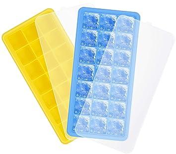 Adoric Mint Blue & Rose - Bandeja de silicona para cubitos de hielo de grado alimenticio, moldes ...