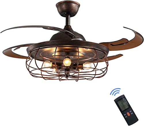 Siljoy 48″ Retractable Blades Chandelier Ceiling Fan Industrial Retro Fandelier