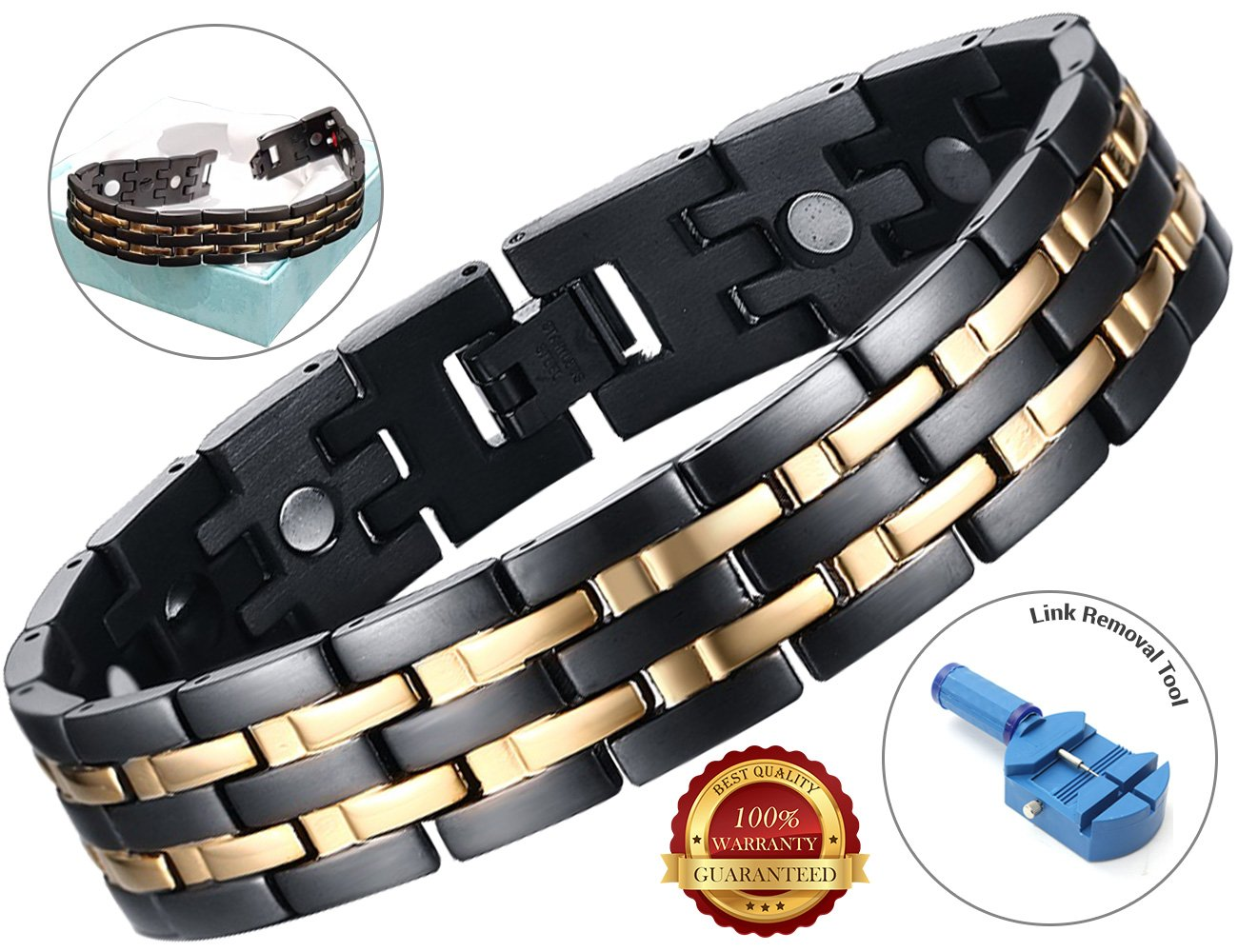 BisLinks® Titanium Magnetic Health Bracelet For Men & Women Germanium Stone Arthritis Chronic Pain Bio Therapy Carpal Tunnel Relief Negative Ion (3000 Gauss Each Magnet) + FREE LINK REMOVAL TOOL by BisLinks® (Image #1)