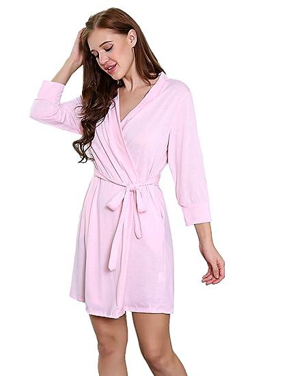 Buy Maxmoda Women S Nightwear Short Modal Robe Pastel Pink Xxl At Amazon In