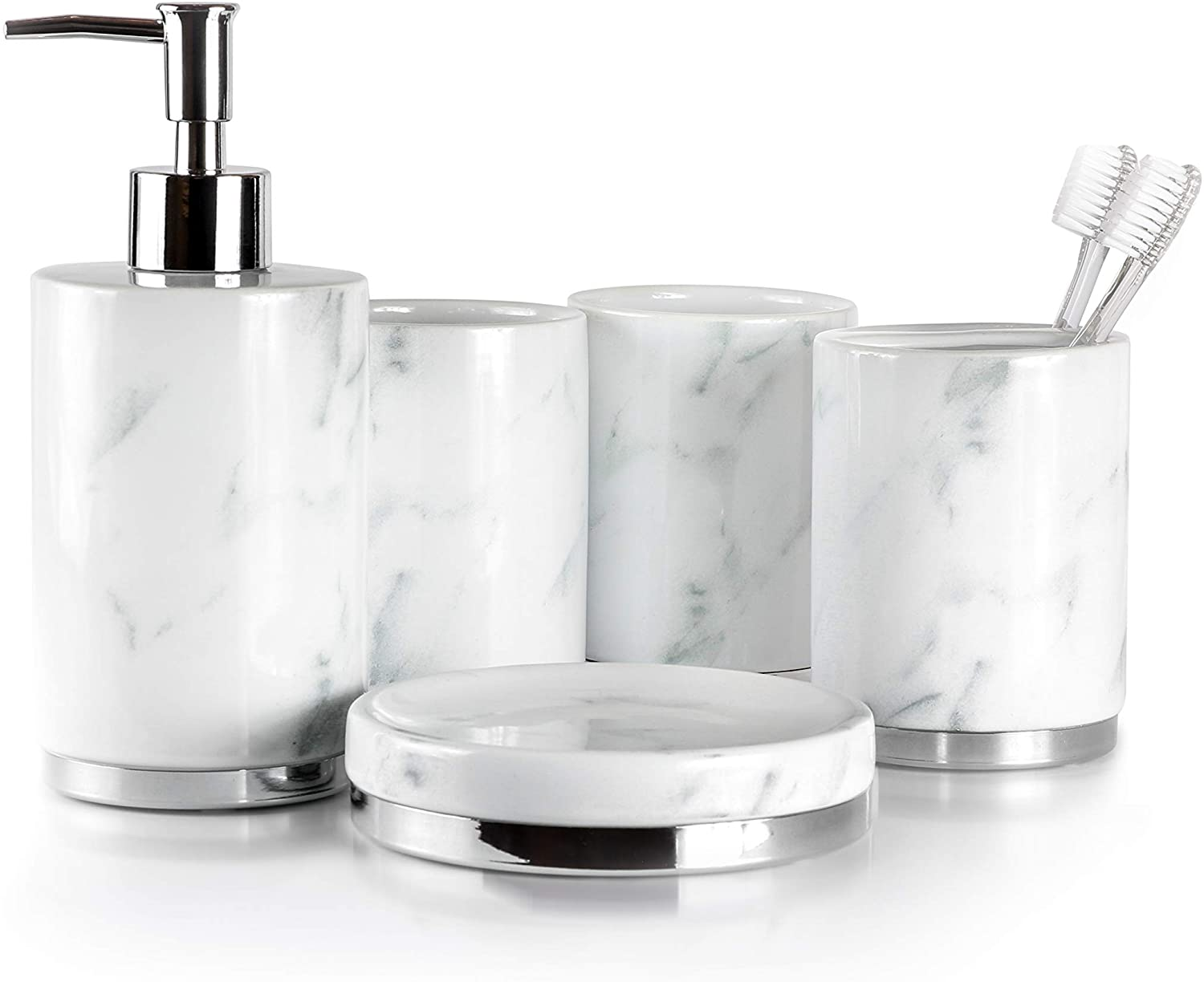 Willow&Ivory Bathroom Accessories Set  9 Piece, Ceramic Bath Set   Toothbrush Holder, Soap Dispenser, Soap Dish, 9 Tumblers  Marble Collection