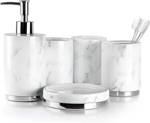 Rectangular White Elegant 6 Piece Bathroom Ceramic Accessory Set High Quality