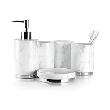 Willow&Ivory Bathroom Accessories Set | 5 Piece, Ceramic Bath Set | Toothbrush Holder, Soap Dispenser, Soap Dish, 2 Tumblers