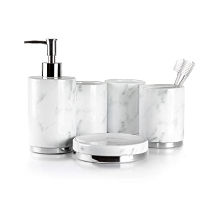 . Willow Ivory Bathroom Accessories Set   5 Piece  Ceramic Bath Set    Toothbrush Holder  Soap Dispenser  Soap Dish  2 Tumblers