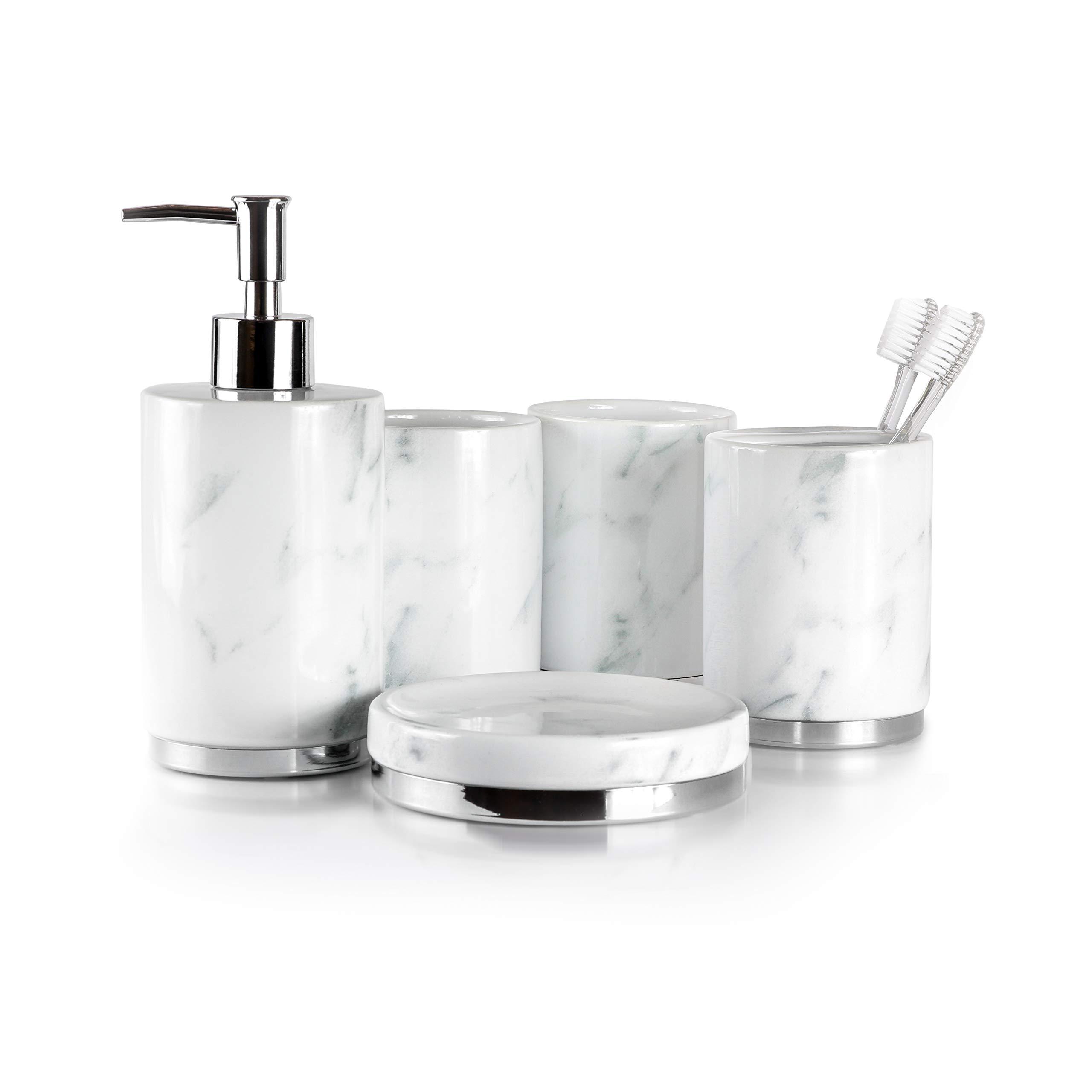 Willow&Ivory Bathroom Accessories Set | 5 Piece, Ceramic Bath Set | Toothbrush Holder, Soap Dispenser, Soap Dish, 2 Tumblers