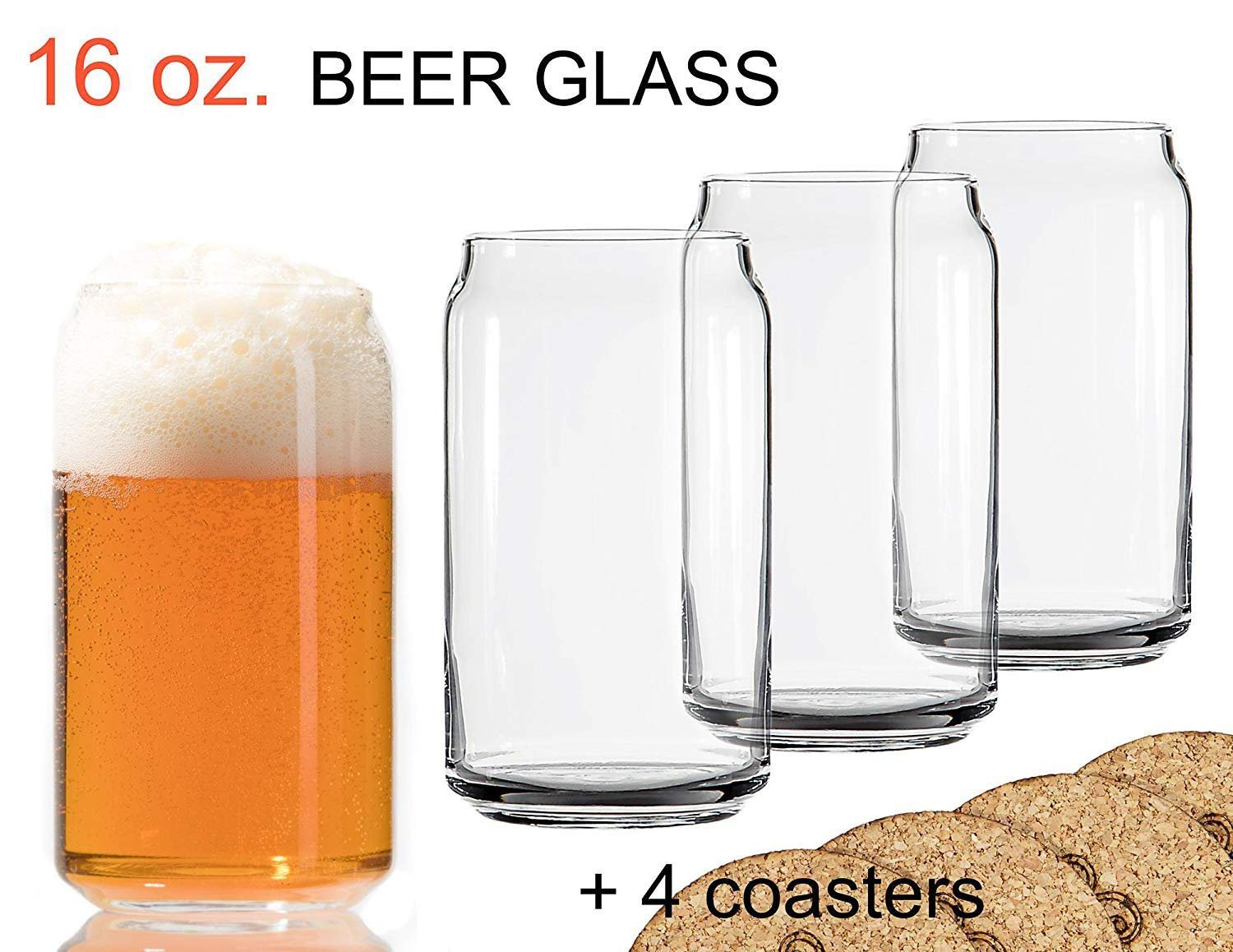 Ecodesign Drinkware Libbey Beer Glass Can Shaped 16 oz - Pint Beer Glasses 4 PACK w/coasters by Ecodesign Drinkware (Image #1)