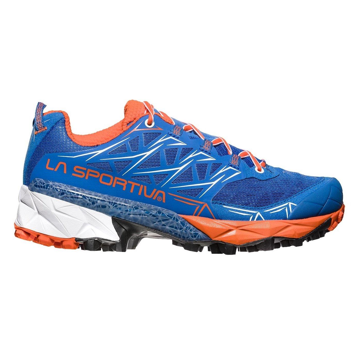 La Sportiva Akyra Woman, Zapatillas de Trail Running para Mujer 38 EU|Multicolor (Marine Blue/Lily Orange 000)
