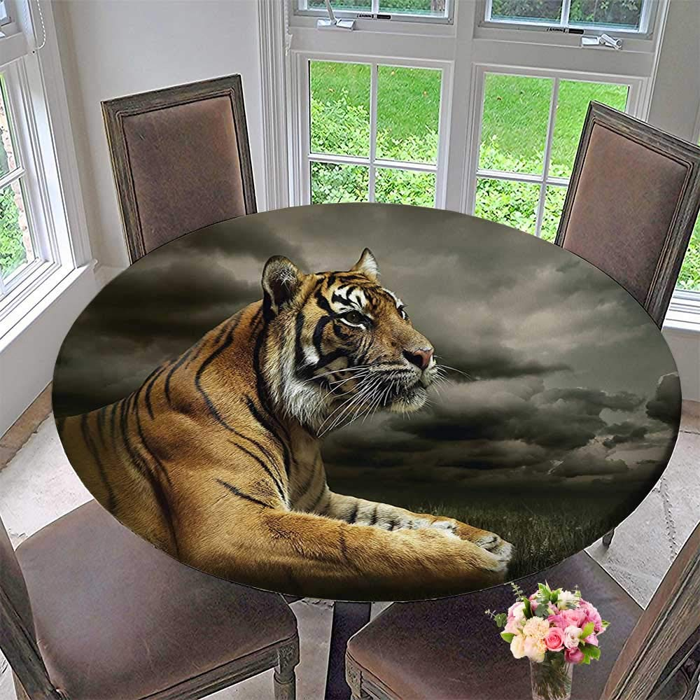 """Mikihome Round Table Tablecloth Decor Collection Tiger Leopard Safari Jungle African Cat Accessories Black Gray Brown for Wedding Restaurant Party 67""""-71"""" Round (Elastic Edge)"""