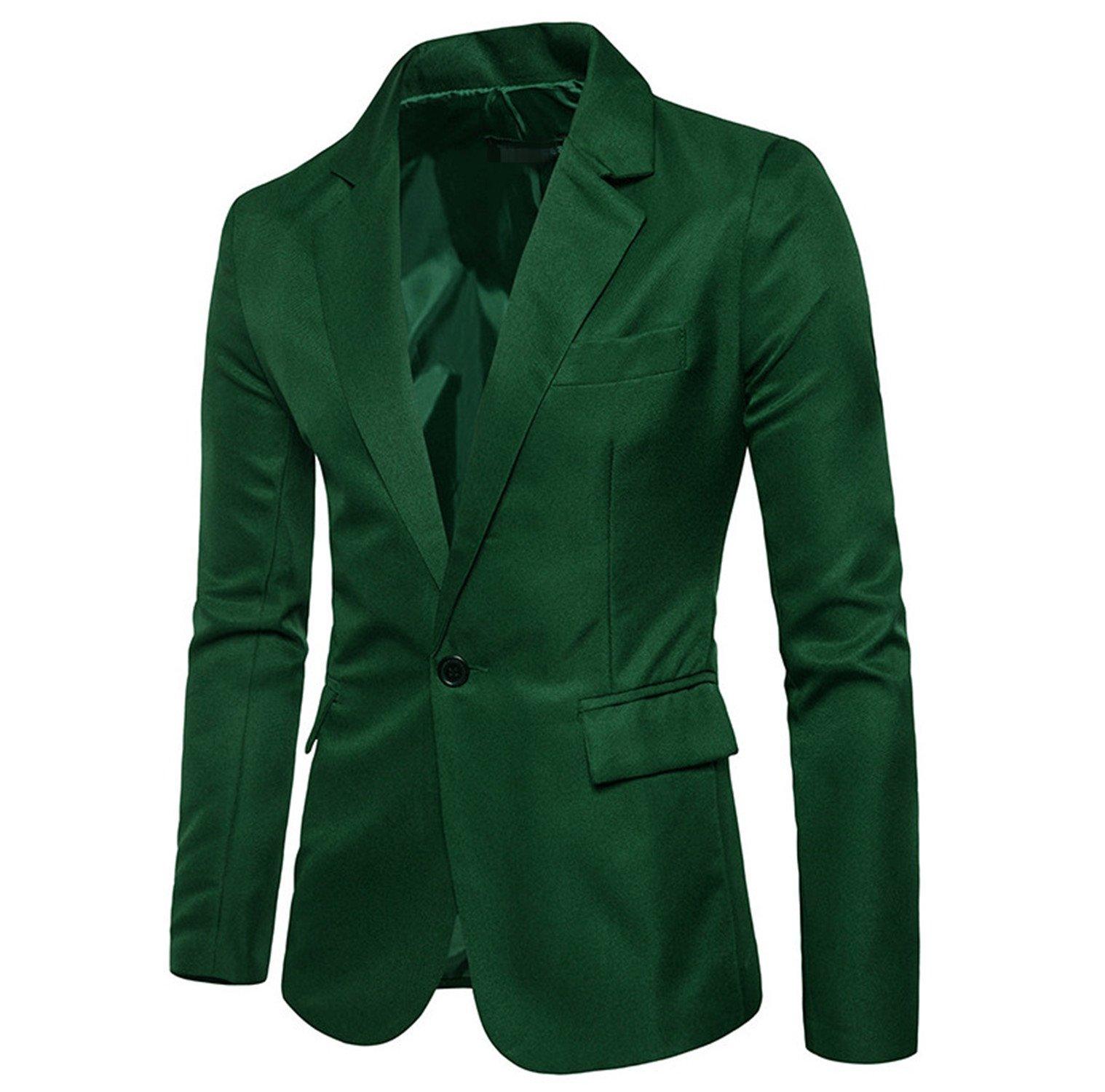 Drawingo Men Slim Fit Blazer Solid Color Business Blazer Wedding Suit Jacket Glass Green XL