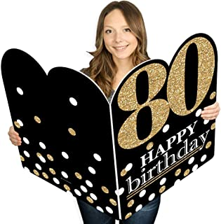 product image for Big Dot of Happiness Adult 80th Birthday - Gold - Happy Birthday Giant Greeting Card - Big Shaped Jumborific Card - 16.5 x 22 inches