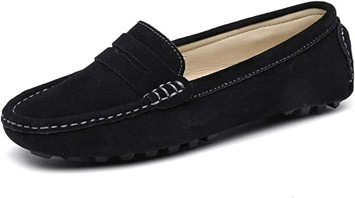 Amazon Com Sunrolan Casual Women S Suede Leather Driving Moccasins Slip On Penny Loafers Boat Shoes Flats Loafers Slip Ons