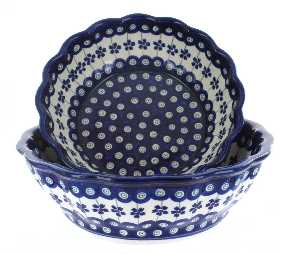 Blue Rose Polish Pottery Flowering Peacock Scallop Serving Bowl Set