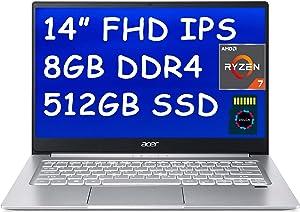 "Acer Swift 3 2020 Premium Business Laptop I 14 inch Full HD IPS I AMD 8-Core Ryzen 7 4700U(>i7-10510U) I 8GB DDR4 512GB PCIe SSD I Fingerprint Backlit USB-C Win 10 + Delca 16GB Micro SD Card"" /></a></div> <div class="