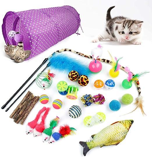 ZWOOS Juguetes para Gatos 28 Piezas Juguete Interactivo para Gatos Mascota Gato Captura Juguetes De Entrenamiento con Gatos Ratón Bolas Campanas túnel y Plumas Cabezas de Repuesto: Amazon.es: Productos para mascotas