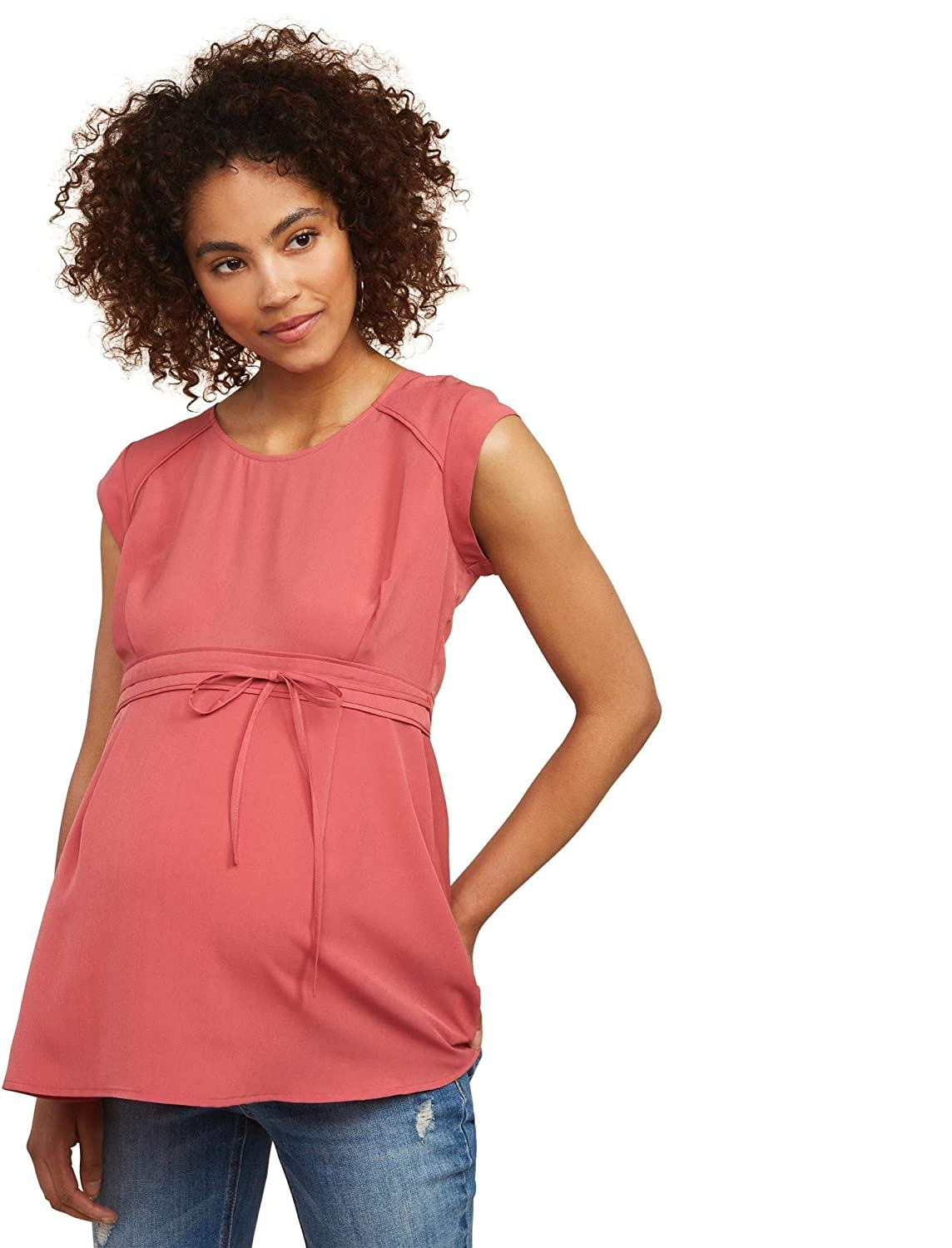 Motherhood Maternity Womens Maternity Cap Sleeve Peplum Blouse with Contrast Piping 93121