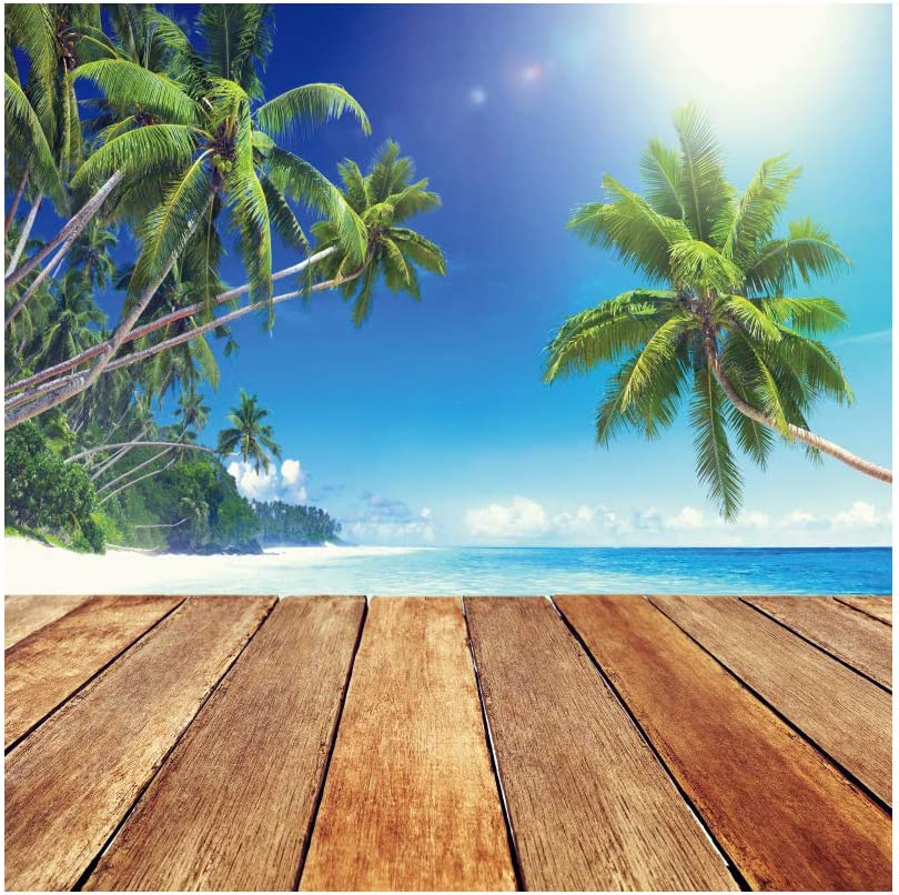 YEELE 10x10ft Sea View Backdrop Brown Wood Floor with Coco Palm Tree Photography Background Kids Adults Portrait Wedding Birthday Decoration Photobooth Props Digital Wallpaper