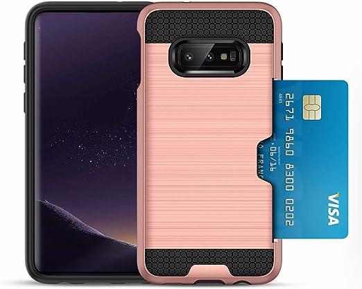S10E avec porte-cartes, coque Samsung Galaxy S 10 E avec fente pour carte de crédit. S10 E Rugged Armor Metallic Brush Coque hybride antichoc double ...